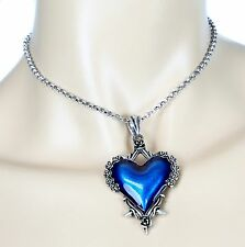 Blue Rose Heart Spike  Steampunk Necklace Pendant Punk Gothic Rock Cosplay