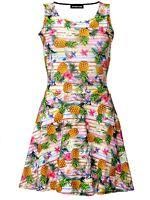 Tropical Floral Exotic Pineapple Fruit Birds Stripe Vintage Retro Skater Dress