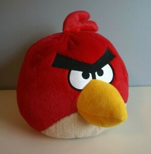 """Angry Birds Red Bird Large 12"""" With Sound Stuffed Bird Plush Commonwealth 2010"""