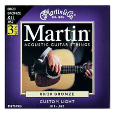 Martin Acoustic Guitar Strings M175 Custom Light 11-52 - 3 Sets