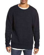 Zanerobe Mens Bronx Oversized Textured Crewneck Sweater X-Large Dark Navy