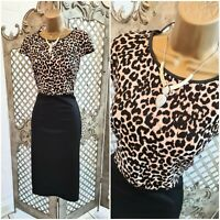 Dorothy Perkins 💋 Animal Leopard Print Smart Fitted Pencil Wiggle Dress UK 12