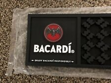 (L@@K) Bacardi Rum Liquor Black Rubber Bar Mat Cocktails Game Room Man Cave NEW