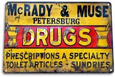 McRady & Muse Drugs Vintage Retro Tin Metal Sign