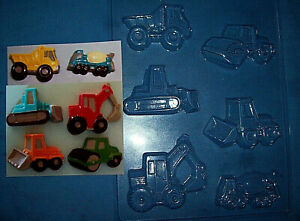 SIX MEDIUM SIZED CONSTRUCTION VEHICLES CHOCOLATE MOULD OR PLASTER MOULD