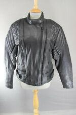 CLASSIC DANNISPORT BLACK COWHIDE LEATHER BIKER JACKET: SIZE 16