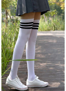 US Women Cable Knit Long Stripe Socks Over Knee Thigh High School Girl Stockings