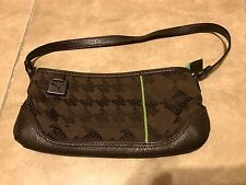 Puma Brown Leather Zipper Purse w/ Green accent in great shape