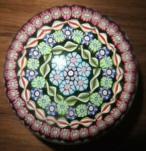Perthshire Paperweight Millefiori & Ribbon Twists Close Concentric P1989 Cane