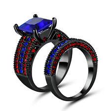Noble 2pcs Black Gold Womens Wedding Bridal Princess Cut sapphire Ring Set size8