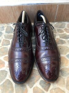 Allen Edmonds Strand Cap Toe Brogue Burgundy Oxford Leather Shoes Size USA 8.5 E