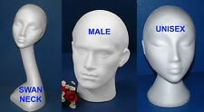 POLYSTYRENE FOAM MANNEQUIN DISPLAY HEAD MALE FEMALE SWAN UNISEX NECK