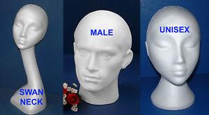 POLYSTYRENE FOAM MANNEQUIN DISPLAY HEAD MALE FEMALE SWAN UNISEX NECK