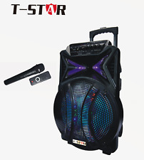 "T-STAR 15"" Portable Speaker Karaoke Bluetooth  DJ PA LED Battery + Wireless Mic"