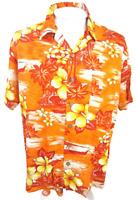 KENNINGTON men Hawaiian ALOHA shirt L pit to pit 25 rayon tropical floral VTG