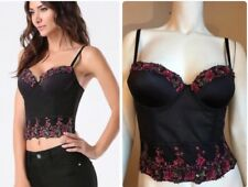 Bebe Selena Floral Beaded Bustier Size XS