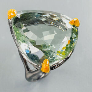 22x19 mm. 35 ct IF  Green Amethyst Ring Silver 925 Sterling  Size 8.75 /R176254