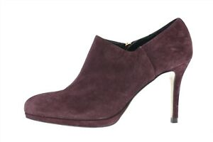 Womens L.K. Bennett Plum Purple Suede Ankle High Heel Booties Size 38 NEW