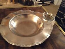 Stainless steel fluted seafood server trays with glass cup