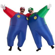 Men Super Mario or Luigi Inflatable Red Green Plumber Costume Nintendo Megamorph
