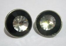 white and black 1 ins diameter Wonderful silver tone metal earrings with