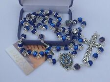 Our Lady of Grace Rosary Beads Blue Capped Glass Beads - Miraculous Medal Center