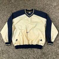VTG 90s Nike Men Sz XL Pullover Warmup Blue Creme White Jacket Windbreaker RARE