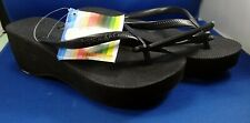 NOS HAVAIANAS Flip Flop Sandals Black Fashion High Look Size 5 - Tag NEW