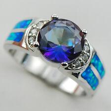 Rainbow Topaz Blue Fire Opal Silver Gold Filled Gemstone Ring Size 10 R1237
