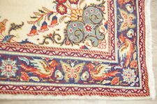 Excellent Floral Ivory Sarouk Bird Border Area Rug Wool Hand-Knotted Carpet 3x5