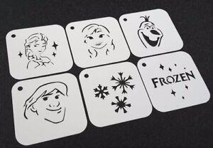 DISNEY FROZEN Style Set of 6pcs Reusable Stencils Elsa Olaf Anna Kristoff Paint