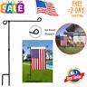 Garden Flag Stand Banner Flagpole, Black Wrought Iron Yard Garden Flag Pole