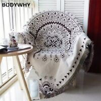 Bohemia Style Geometry Throw Blanket Sofa Slipcover Non-slip Stitching Blankets