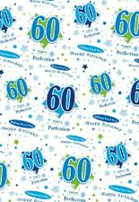 2 Sheets Gift Wrapping Paper HAPPY 60th BIRTHDAY 60 Today Blue Mens Ladies Boy