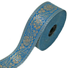 Bordure 1M Lfm 40mm Bande Ruban Tissé Sari Coudre Larp Turquoise 4,0