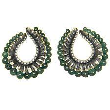 Marilyn Cooperman Large Emerald Diamond Silver Gold Swirl Earrings