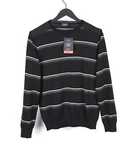 Paul & Shark Yachting Regular Fit Men Striped Wool Crew Neck Sweater Size L, NEW