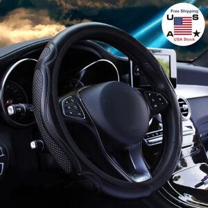 Universal Car Accessories Steering Wheel Cover Black Leather Anti-slip 15''/38cm
