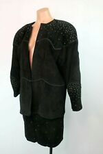 Cache Vtg 80s 90s Black Suede Leather Rhinestone Bling Skirt Suit 2pc Usa Grunge