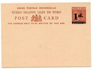 Turks Islands 1d on Penny Halfpenny Postal Stationery Card H&G 4