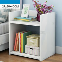 White Modern Bedside Table Cabinet Storage Bedroom Locker Furniture Two Layer