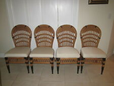 Bamboo Rattan Dining Chairs  Upholstered Seat Set of Four Shipping not included
