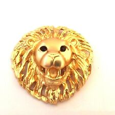 ancienne broche bijou lion et yeux verroterie (strass) vintage french brooch