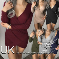 UK Womens Christmas Plunge Party Dress Ladies Mini Wrap Pencil Dress Size 6-14