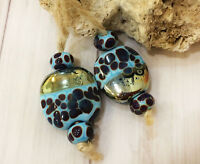 Handmade Lampwork Glass Art Beads From Murano Glass Multi-Color 6 Pcs