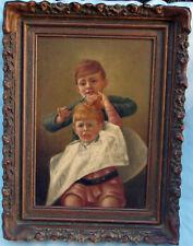 HUGO APOSSNER CIRCA 1880 DIFFICULT HAIR CUT FINE      PAINTING ,ELEGANT DETAILS