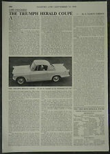 Triumph Herald Coupe Review Specification Road Test 1959 1 Page Photo Article