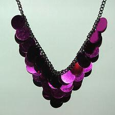tief Hot Pink Scheiben auf schwarz Kette E-Mail Halskette oder Choker Bd