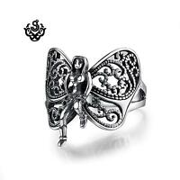 Silver ring solid stainless steel butterfly fairy filigree band