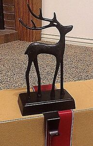 Pottery Barn Santa's Reindeer stocking Holder hanger deer Christmas BRONZE